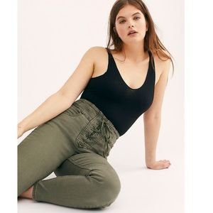 FP CRVY High-Rise Lace-Up GREEN Skinny Jeans